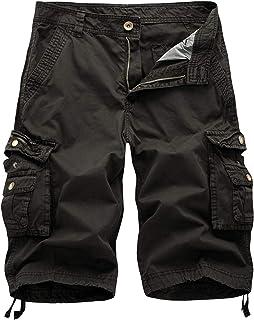 0f3a09fe33c81 WSLCN Homme Rétro Baggy Cargo Camo Shorts Outdoor Casual Combat Shorts  Coton Pantacourt