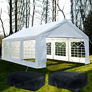Quictent 20'x20' Heavy Duty Outdoor Carport Party Wedding Tent Shelter Gazobo Pavilion with 3 Carry Bags