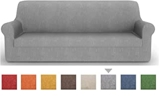 PETTI Artigiani Italiani Sofá Elástica, Tejido Jacquard, 100% Made in Italy, Gris, Funda Sillon (85 a 110 cm), Tela