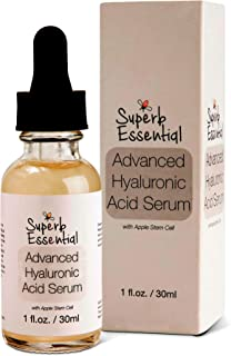 Advanced Hyaluronic Acid - Swiss Apple Stem Cell Serum with Vitamin C - Anti Aging Moisturizer - Organic Natural Brightening Skincare for Youthful Skin