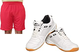 FOOTFIX Men's Squash White (Non Marking) Gym, Badminton Sports Shoes with Free Red Shorts