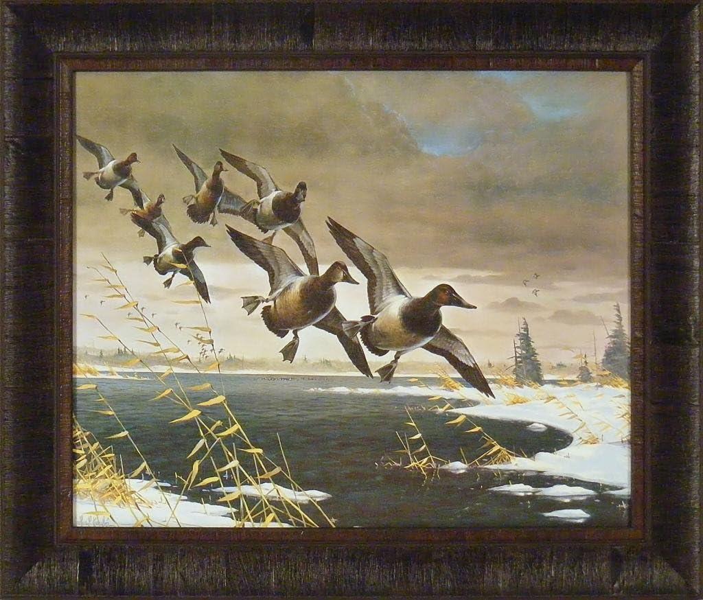 Home Cabin Décor Canvas Backs by Les Kouba 20x24 Lake Snow Ducks Flying Framed Art Print Picture