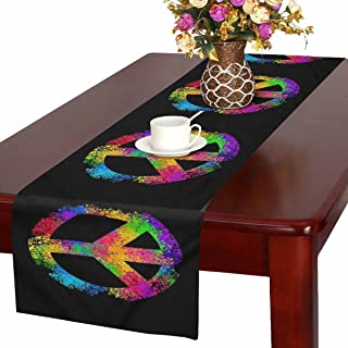 InterestPrint Cool Hippie Peace Sign Symbols Table Runner Cotton Linen Home Decor for Wedding Party Banquet Decoration 16 x 72 Inches