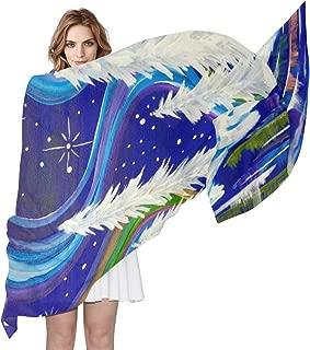 Aurora Borealis Winter Wonderland Landscap Silk Scarf Lightweight Long Scarf Shawl Wrap for Women