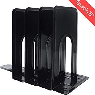 2 Pairs /4 Pieces Metal Bookends, Sturdy and Nonskid, Heavy Duty Metal Book Ends Supports for Books, DVDs, Magazines, Great for Office, Home, School, Dorm, Black, 8.2 x 5.2 x 6.5 inch