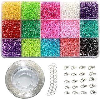 EWPARTSES 3mm Mini Cuentas de Cristal para los niños DIY Bracelet Arte y joyería-Making, Cadena de Cuentas de fabricación de Juego, Fadeless Color (Full Color) (#3)