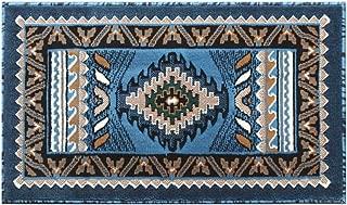 Native American Area Rug Mat Design Kingdom 143 Blue (24 Inch X 40 Inch) Mat