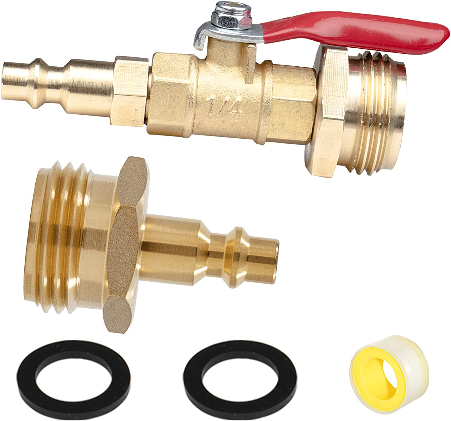 WHK RV Winterize Blowout Adapter,Blow Out Plug with 1/4 Inch Male Brass Quick Plug and 3/4 Inch Male GHT Thread,Winterizing Air Nozzle with Ball Valve for Blowing Out Water Lines RV,Camper,Garden Hose