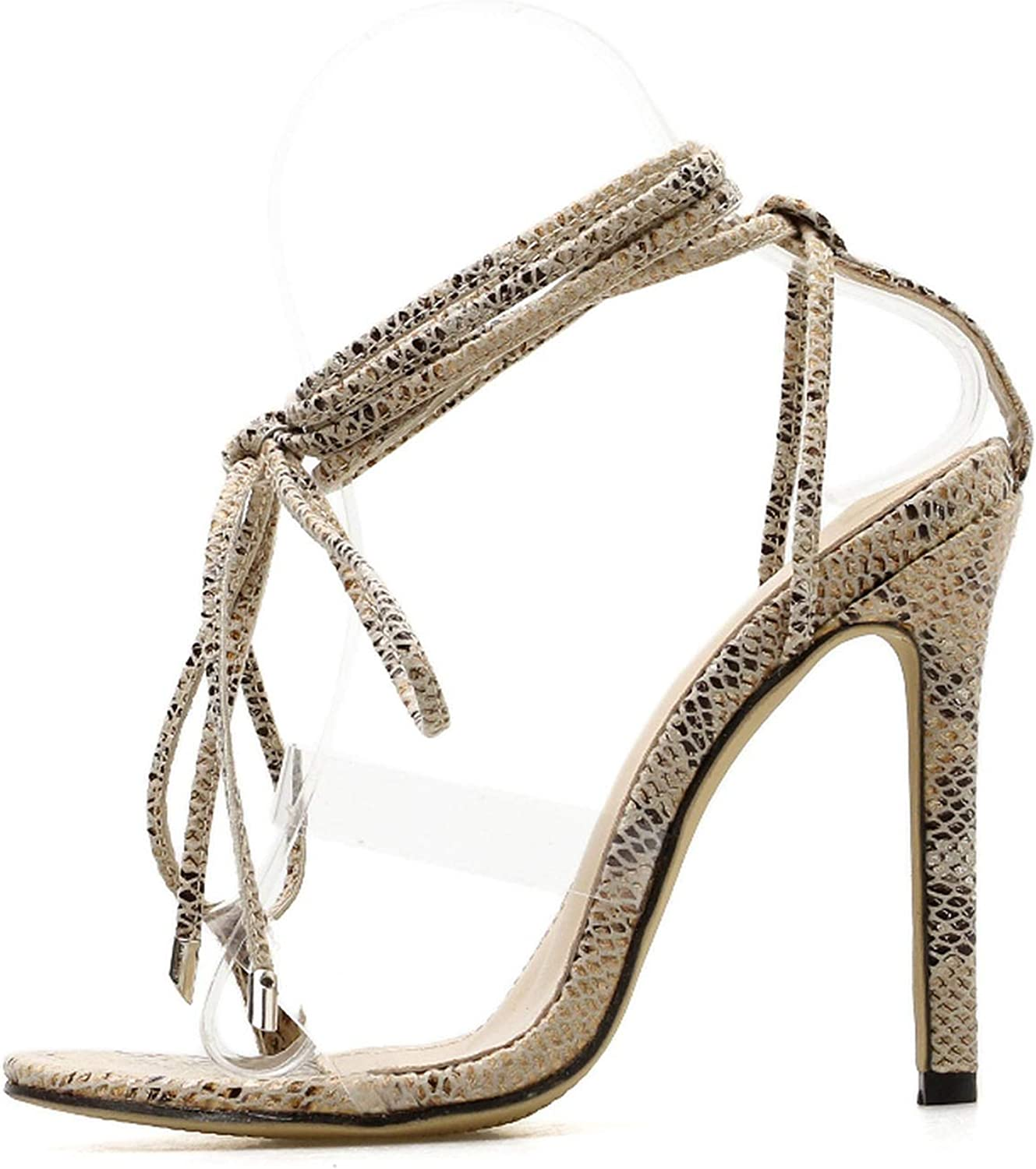 New Summer Fashion Snake Skin Ankle Strap Women Sandals Cross-Tied High Heels Lady Pumps Transparent Open Toe Sandals shoes