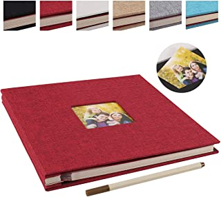 آلبوم عکس چسبنده آلبوم عکس چسبناک مغناطیسی 40 صفحه ای کتانی Hardcover 11x10.6 اینچ با آلبوم خاطره ای قلم فلزی آلبوم خانوادگی (قرمز کوچک)