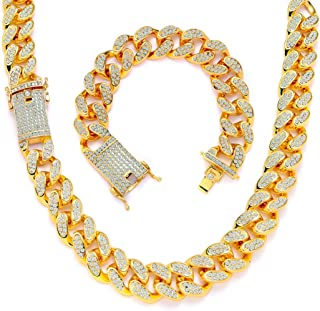20mm Cuban Link Chain for Men Iced Out Bling Hip Hop Necklace 18K Gold Silver Color Rhinestone Clasp Women Choker Chain Br...