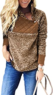 Fashion Women's Casual Long Sleeve Sweater Contrast Button Fleece Pullover Sweatershirts Jacket Hoodies