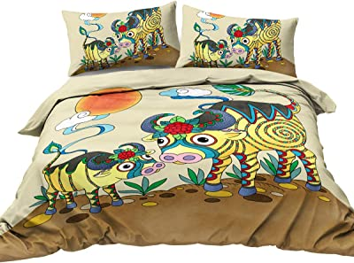 BlessLiving Mother and Baby Cow Watercolor Duvet Cover Asian Culture Bedding Traditional Chinese Bedspread 3 Piece Ultra Soft Hypoallergenic Easy Care (King)