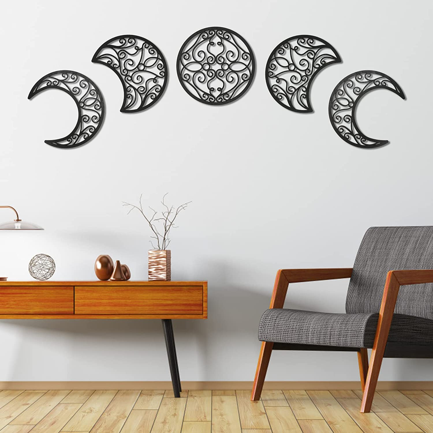 WIOR 5 PCs Moon Phases Wall Decor Set, Wooden Wall Decoration with Natural Full/Half/Crescent Moon Appearance Design, Boho Nordic Wall Hanging Art Ornaments for Home Living Room Bedroom Office - Black