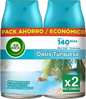 Air Wick Freshmatic - Recambios de Ambientador Spray Automático, Esencia para Casa con Aroma a Oasis Turquesa - Pack de 2