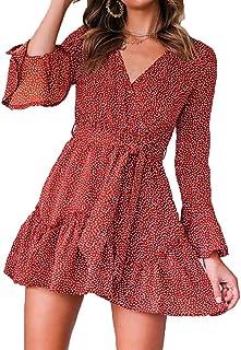 Vestido de Cóctel de Verano para Mujer con Mangas Largas A-línea de Cuello en V Estampado Floral con Cinturón de Cintura Alta