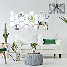 Removable Acrylic Mirror Setting Wall Sticker Decal for Home Living Room Bedroom Decor (Large Hexagon, 32 Pieces)