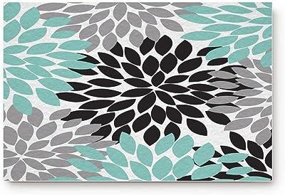 Doormat Non Slip Indoor/Outdoor/Front Door/Bathroom Entrance Mats Rugs Carpet,Dahlia Flower,Teal Black Grey
