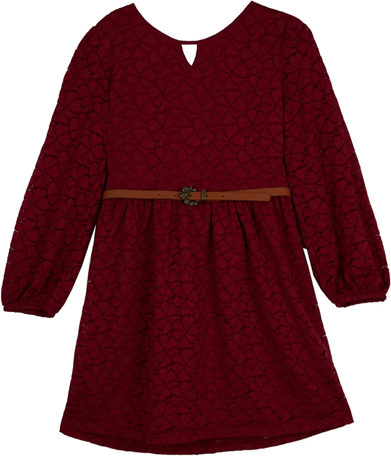 Amy Byer Girls' Allover Lace Fit and Flare Dress