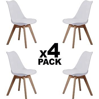 Adec - Bistro, Pack 4 Sillas de Comedor, Sillas de Salon, Cocina Estilo Nordico, Tapizado Simil Piel