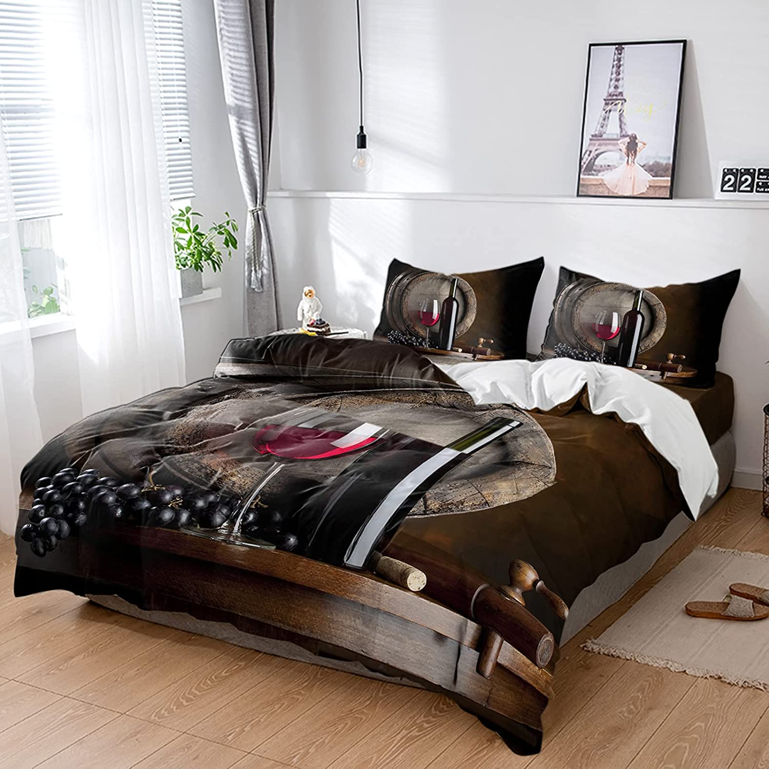 Cheap mail order sales ZL SEAL limited product Home 4 Piece Bed Sets Farmhouse Grapes Duvet Red Glass Wine
