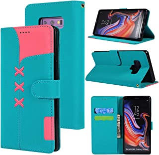 SHUHAN Mobile Phone Case for Galaxy Fabric Stitching Embroidery Horizontal Flip Leather Case With Holder & Card Slots & Wallet for Galaxy Note 9(Red) (Color : Light Blue)