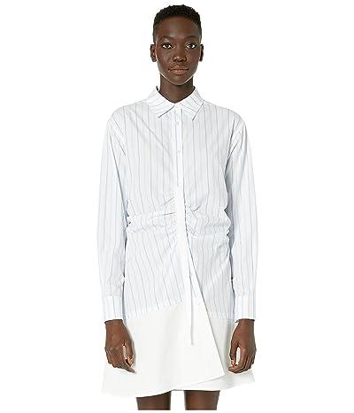 McQ Gathered Placket Dress (Pale Blue/White) Women