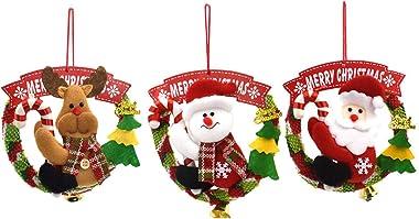 MOKPR Christmas Door Hanging Wreath Snowman Santa Christmas Holiday Hanging Sign for Front Door Wall Window Fireplace 3 Pcs (