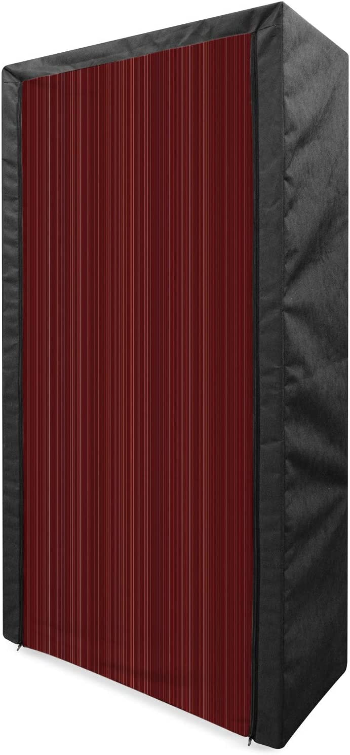 Lunarable 2021new Outlet sale feature shipping free Maroon Portable Fabric Wardrobe Striped Classical Dis