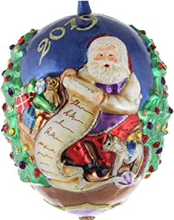 Jay Strongwater 2019 Jeweled Santa Claus Checking his List Christmas Ornament