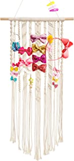Dahey Macrame Hair Bow Holder Hair Clips Hanger Headband Storage Organizer for Baby Girls Room Nursery Boho Wall Decor, 17