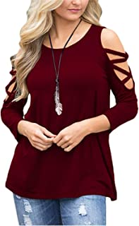 ae12649f98f0ce MISSLOOK Women Cold Shoulder Tops Long Sleeve Shirts Hollowed Blouse Crew  Neck T Shirts Tunic