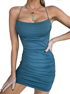 Eliacher Women Adjustable Spaghetti Straps Bandage Clubwear Bodycon Dress Sleeveless Shimmer Sexy Backless Party Dresses
