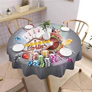 S-ANT Microfiber Round Tablecloth Poker Tournament Decorations,Welcome to Casino Colorful Chips Cards Dice Roulette Jackpot,Multicolor Buffet Table Holiday Dinner Picnic D39