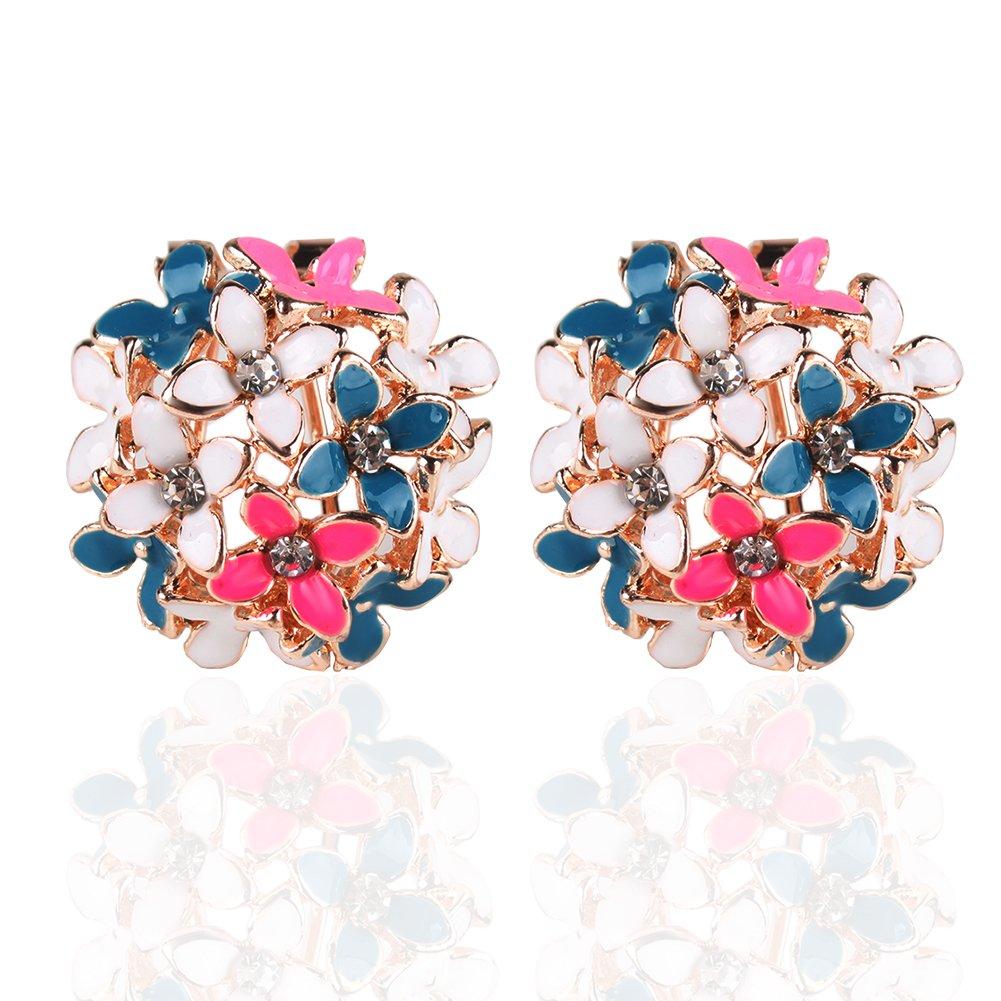 Ownsig Lady Charming Bloomy Four Leaf Clover Flowers Rhinestone Ear Stud Earrings Multicolor