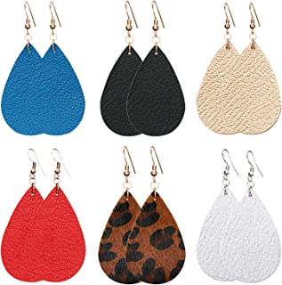 Genuine Leather Earrings Teardrop Leaf Petal Antique Lightweight Drop Earrings Gift For Women Girls
