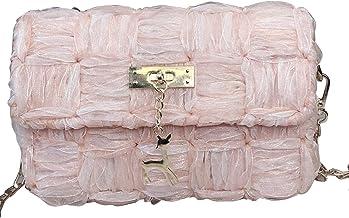 Handgeweven Cross-Body Bag,DIY Mesh Garen Lint Making Kit Set, Geschenken voor familie en vrienden (Roze)