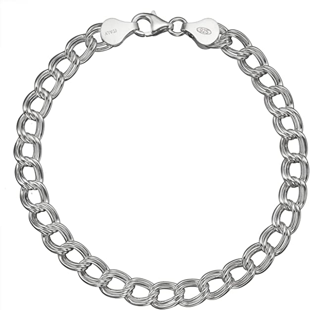 Sterling Silver Filled 10MM DOUBLE CURB CHAIN MENs GIFT Chunky Bracelet Bangle
