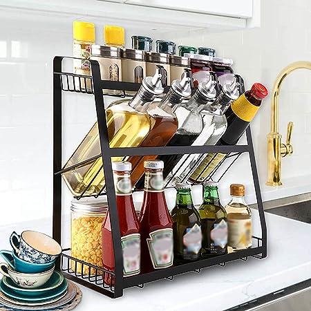 Homease Étagère à épices, à 3niveaux, noire, pour la cuisine, pour le rangement de différentes tailles de bouteilles d'épices, à placer sur les comptoirs et les placards, grande capacité de charge