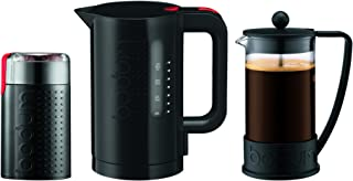 Bodum K10938-01US Brazil Set, French Press 8 Cup Coffee Maker, Electric Coffee Blade Grinder & Electric 34 oz. Water Kettle, Black