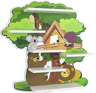 Homfa Estantería de Pared Estantería Infantil para Niños Estantería Flotante Madera para Habitación Infantil Salón de Forma Árbol 52.5x11.2x51.8cm