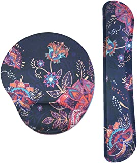 Keyboard Wrist Rest Support and Mouse Wrist Mouse Pad Set, Non Slip Rubber Base Wrist Support with Ergonomic Raised Memory Foam for Computer, Laptop, Home& Office, Bohemian