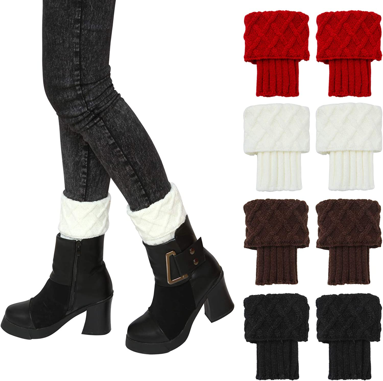 Elcoho 4 Pairs Leg Warmer Socks Fashion Short Boots Crochet Knitted Boots Socks