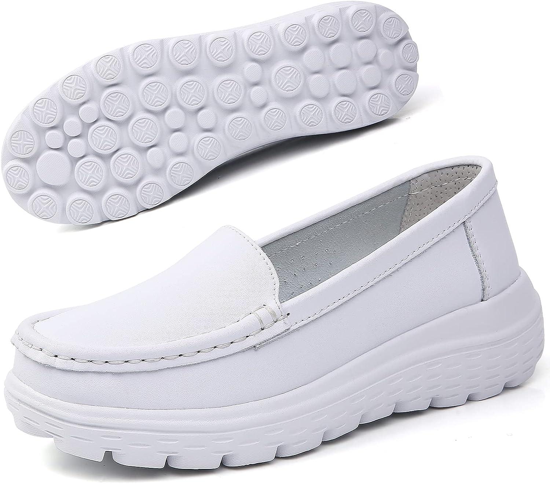 Nursgram Nurse Shoes Women Nursing Work Healthcare Slip Resistant Breathable Restaurant Food Service Lightweight Leather Loafer