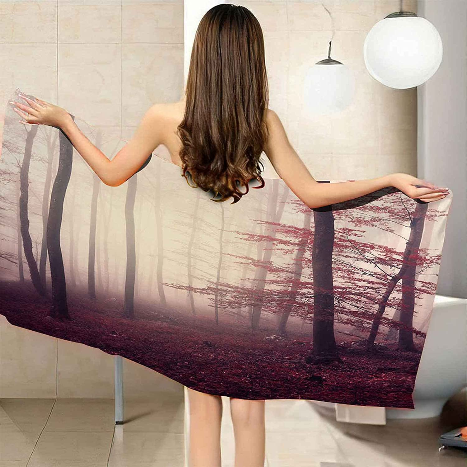 IRUAIF Microfiber Dedication Beach Towel Red Forest Quick Maple 78.7x78.7in Over item handling