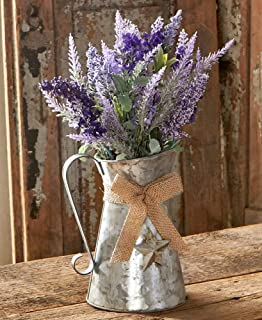 The Lakeside Collection Galvanized Metal Country Milk Can with Faux Wildflower Arrangement