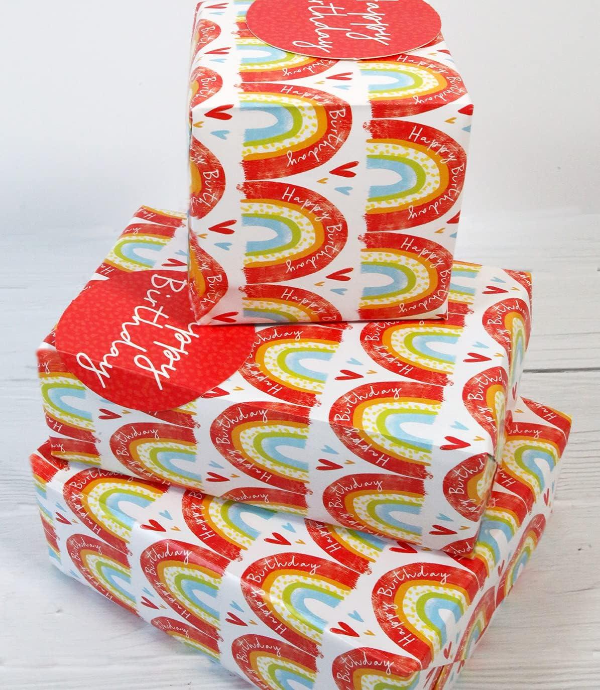 Abacus 12369A - Paquete de papel de regalo con 2 hojas y 2 etiquetas, sin plástico