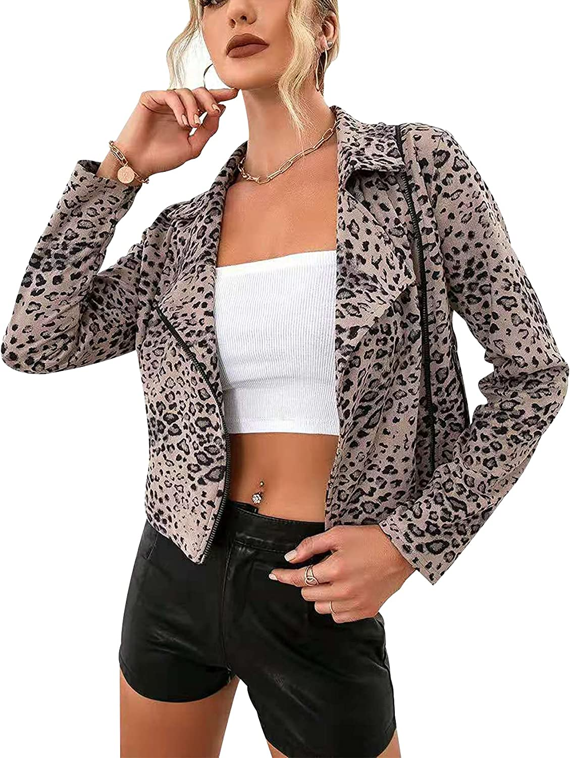 Gihuo Women's Casual Sexy Long Sleeve Leopard Motorcycle Jacket Zip Front Cropped Coats
