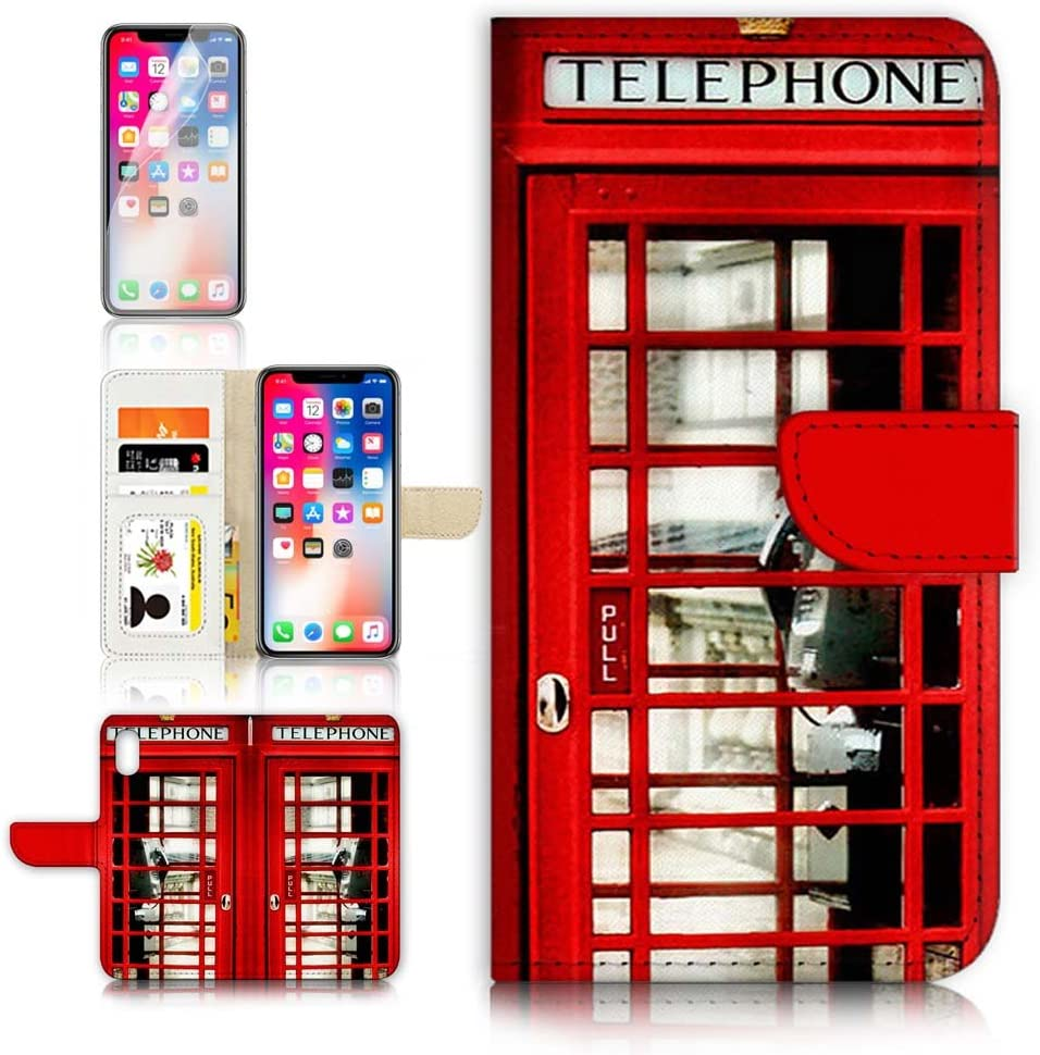 (for iPhone XR) Flip Wallet Case Cover & Screen Protector Bundle - A0096 British Red Phone Booth