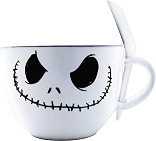 Silver Buffalo NB111936 Nightmare Before Christmas Jack Face Ceramic Soup Mug with Spoon, 24-Ounces